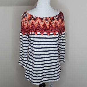 Lucky Brand Striped Cotton Sleeved Top Medium